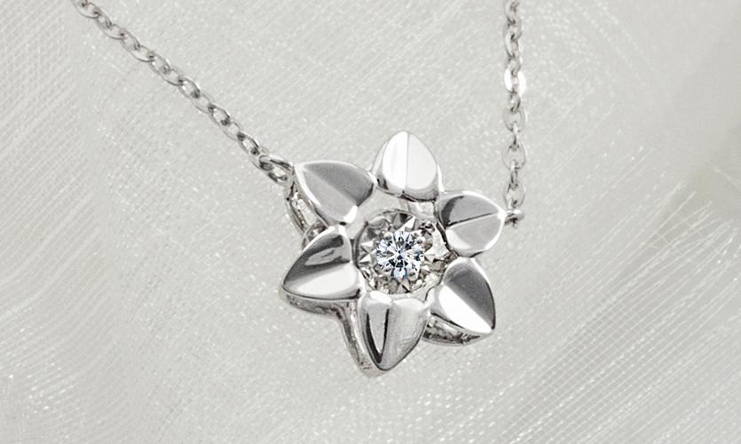 0.030克拉天然鑽石玫瑰18K金項鍊
