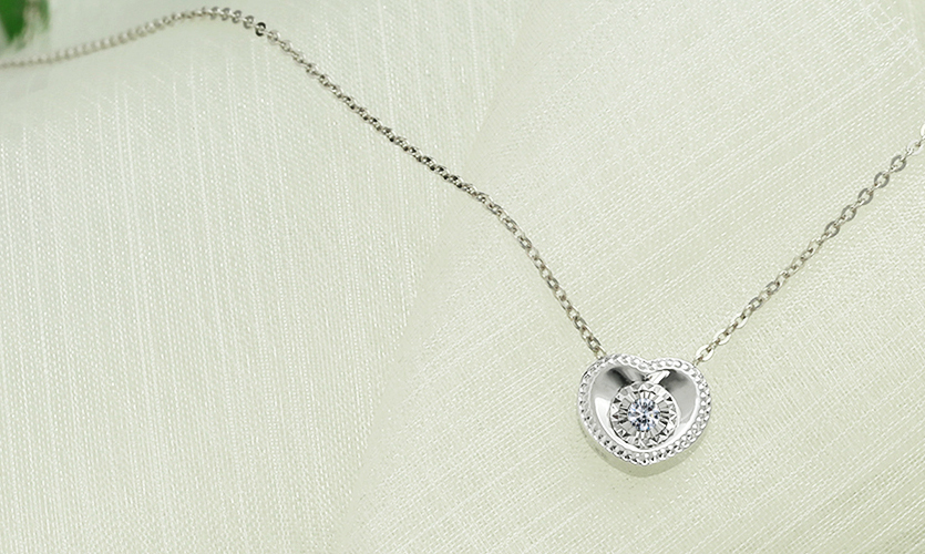 0.040克拉天然鑽石玫瑰18K金項鍊