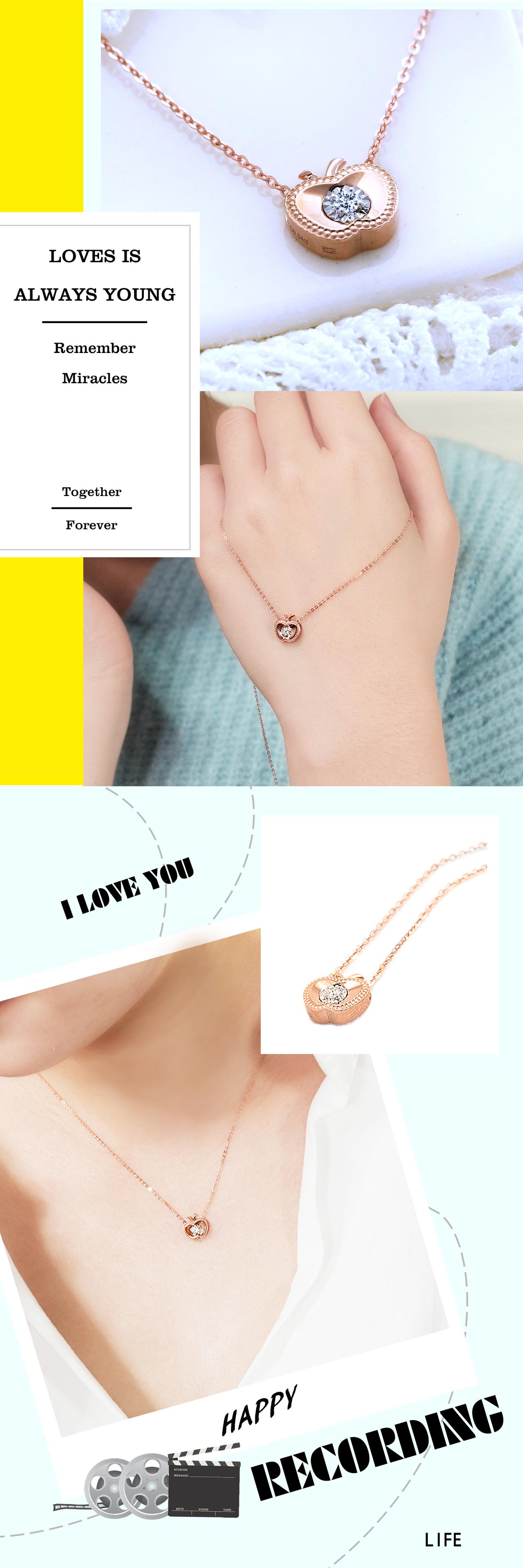 0.040克拉天然鑽石18玫瑰K金項鍊