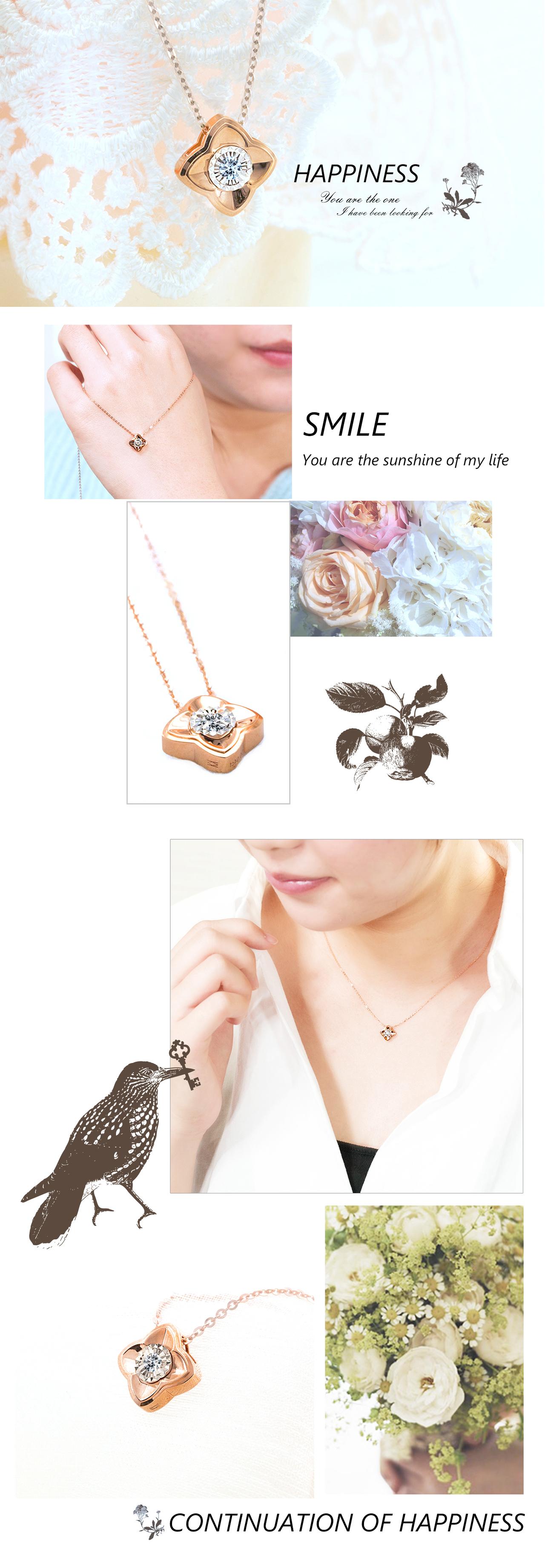 0.0ˋ0克拉天然鑽石18玫瑰K金項鍊